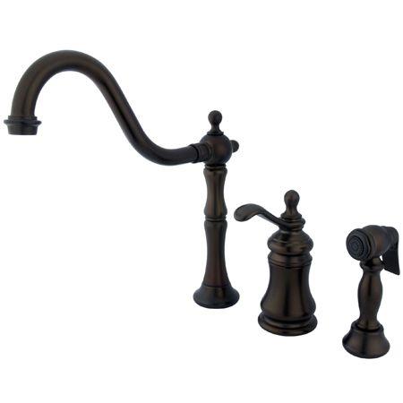 $344 KS7805TPLBS Kingston Brass Oil Rubbed Bronze  Templeton widespread kitchen faucet w/sprayer