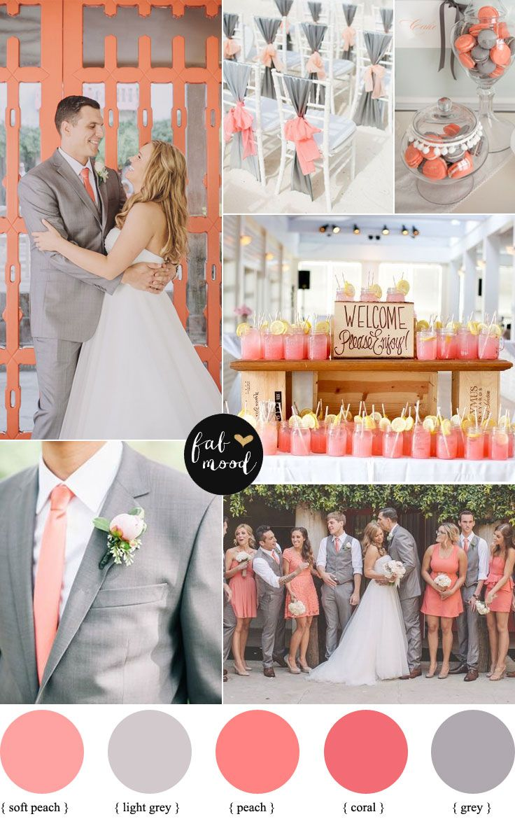 Plus size wedding dresses with red accents  Peach coral and grey wedding palette  Grey weddings Coral and Peaches