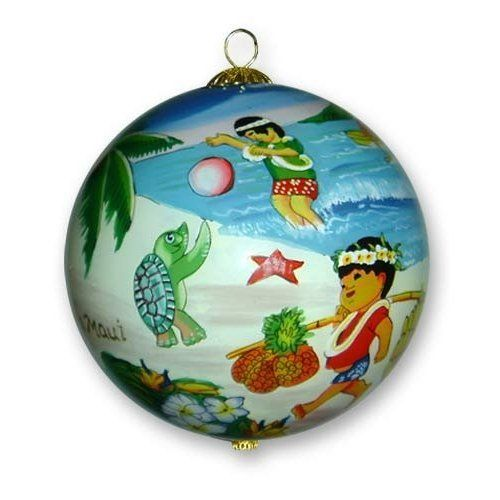 Painted Glass Christmas Ornament Children Playing: Maui, Hawaii - Painted Glass Christmas Ornament Children Playing: Maui, Hawaii