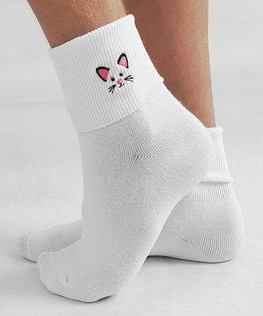 Look what I found on #zulily! White Kitty Fold Crew Socks #zulilyfinds