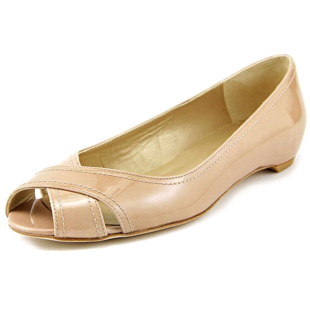 Stuart Weitzman Exflat Women US 5.5 Nude Peep Toe Flats. The style name is  Exflat