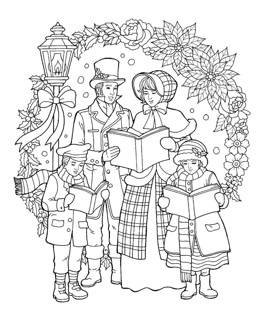 Caroler Christmas Coloring Page color pages Christmas