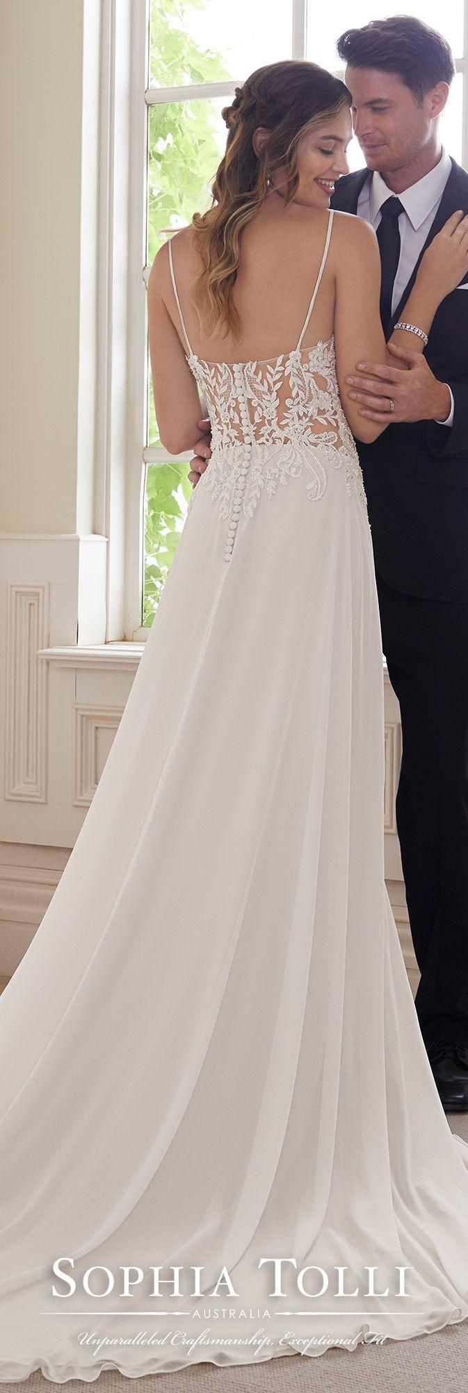 Sexy ethereal chiffon u lace vneck wedding dress wedding ideas