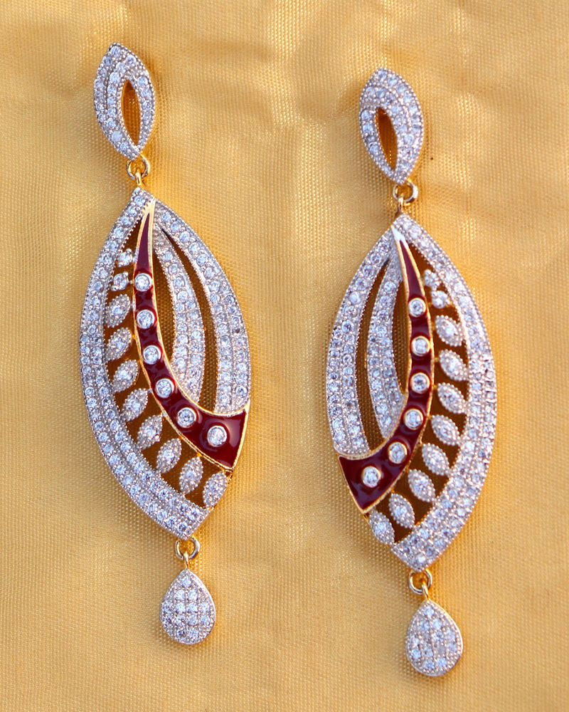 Zephyrr Fashion Jewellery Silver Plated Dangle Earrings Red Crystal Beaded Contemporary