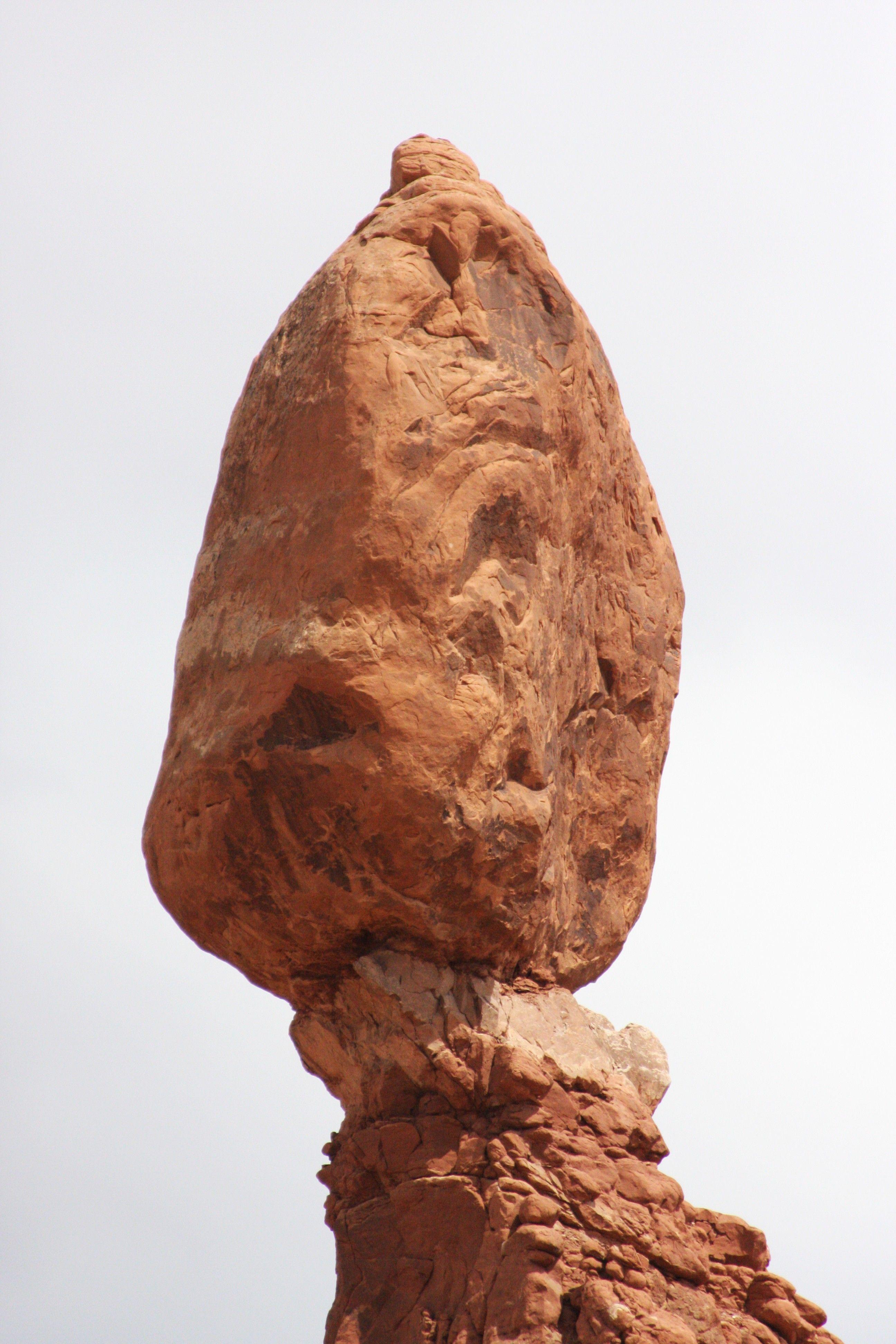 A close-up of Balanced Rock.