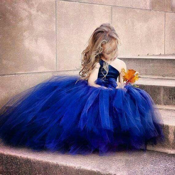 Vestido Tul Azul Rey Vestido Para Niñas Boda Vestidos De