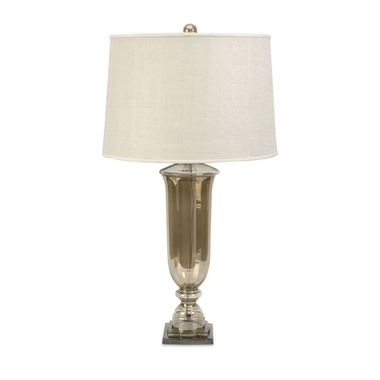 With a warm, sultry ambiance, this glass urn lamp adds a bit of glamour to any room. The flared drum linen shade is topped with a matching luster glass finial.