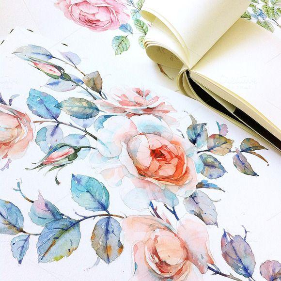 Watercolor roses by Natalia Tyulkina on Creative Market