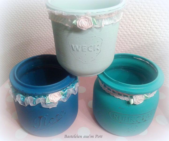 Deko-Objekte - Deko-Glas farbig Einmachglas Shabby Vintage ...
