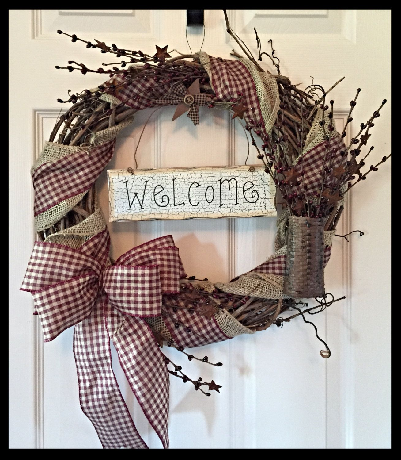 Grapevine Wreath With Burlap And Gingham Ribbon Primitive Wreath Country