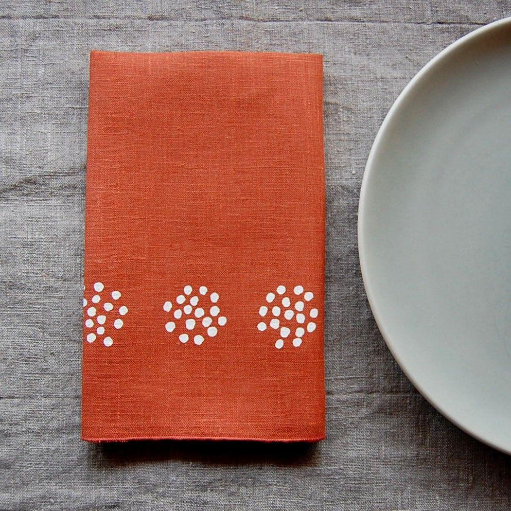 colander napkin pair - persimmon/white