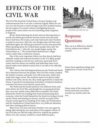 effects of the civil war civil wars worksheets and social studies. Black Bedroom Furniture Sets. Home Design Ideas