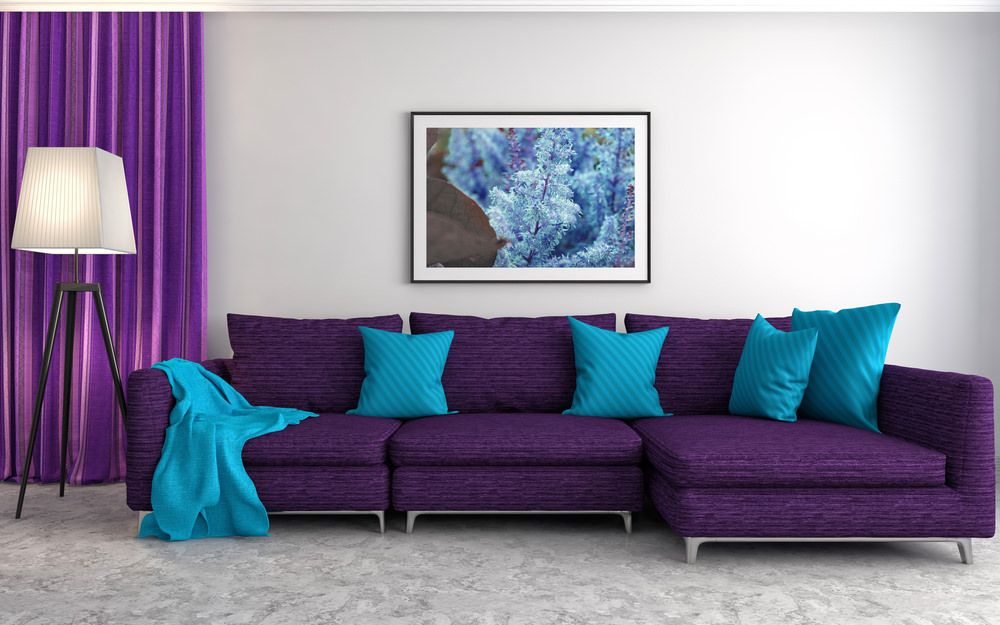 colors that go well with purple for interior design