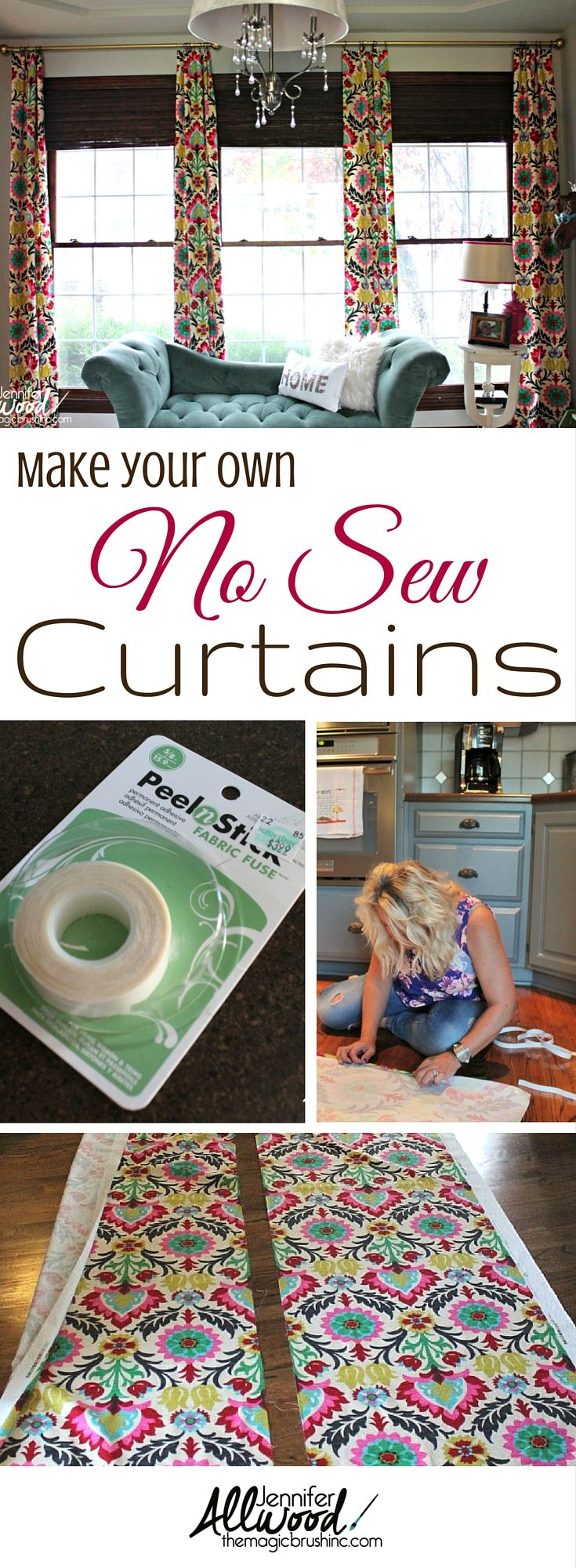 How to's : How I no-sewed the Happiest Office curtains in the world! No sewing required with Waverly fabric Santa Maria Desert Flower. More DIY projects from theMagicBrushinc.com