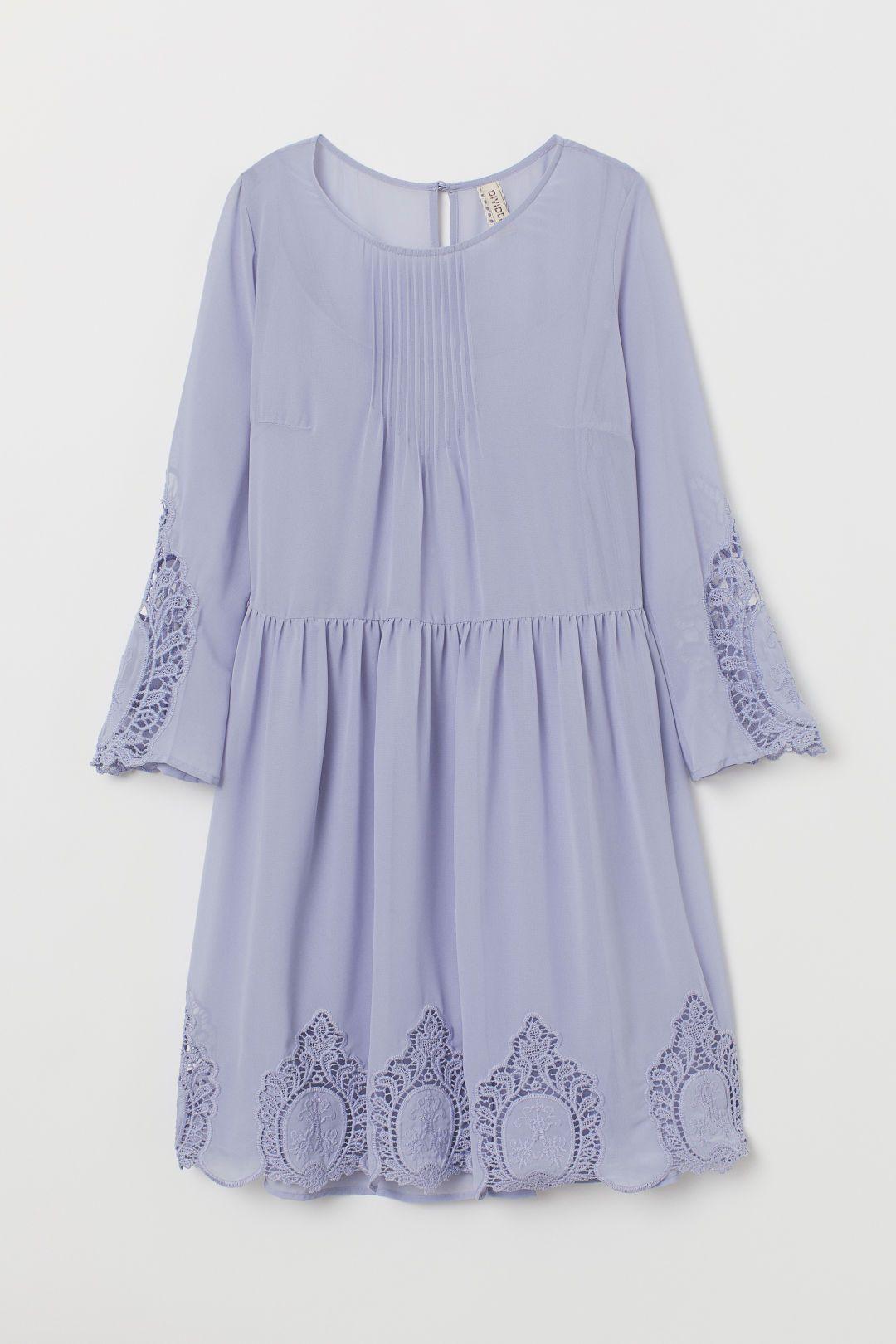 Kleid mit Spitze - Mattgrün - Ladies  H&M DE  Kleid spitze