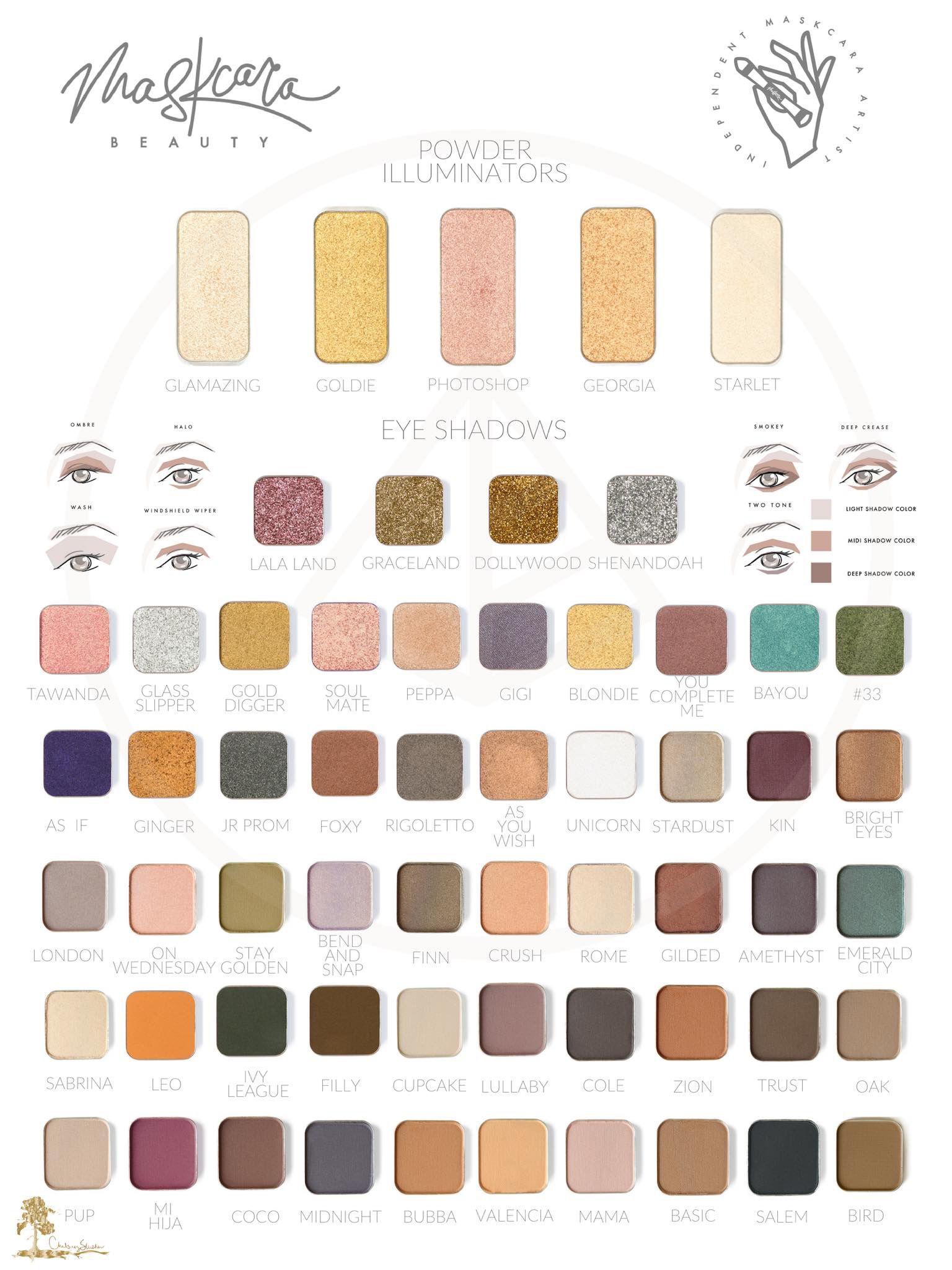 Illuminators and eyeshadow swatches Maskcara beauty