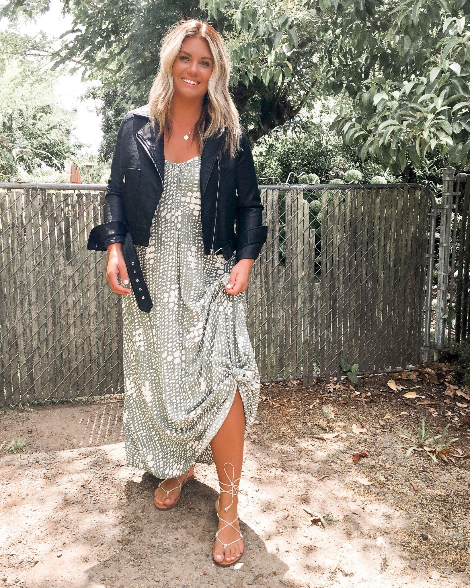 Photo of Maxi dress + leather jacket