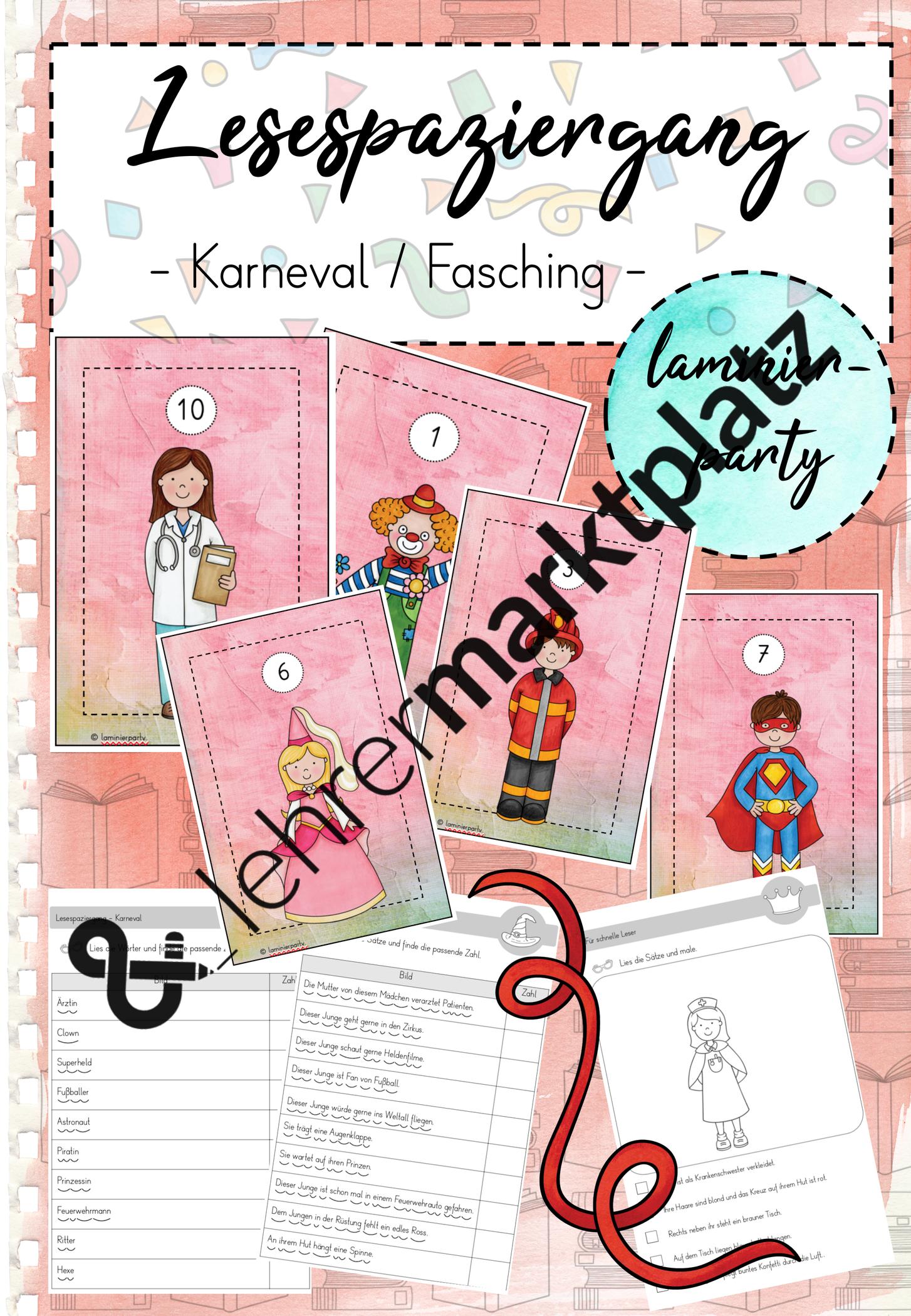 Lesespaziergang Karneval Fasching Klasse 1 2 Unterrichtsmaterial In Den Fachern Daz Daf Deutsch Fachubergreifendes In 2020 Karneval Fasching Bildkarten