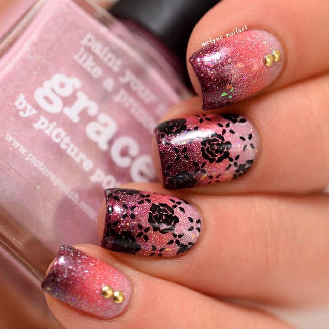 Nail art dégradé et stamping romantique picture polish art nails