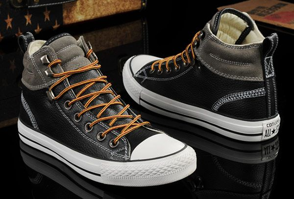b28fc0cb59ae Converse Black Leather Grey Suede Padded Collar High Tops Chuck Taylor All  Star Shoes