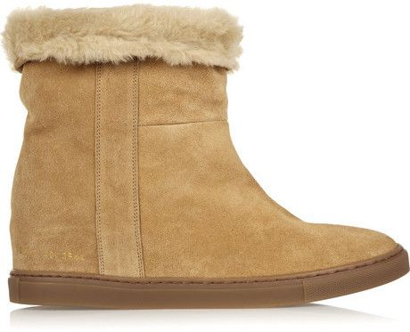 $470, Brown Suede Wedge Ankle Boots: Common Projects Faux Shearling Lined Suede Wedge Ankle Boots. Sold by NET-A-PORTER.COM. Click for more info: http://lookastic.com/women/shop_items/86224/redirect