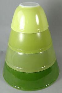 Vintage Pyrex Nesting Mixing Bowls Avocado Green Yellow Serving Baking Complete   eBay