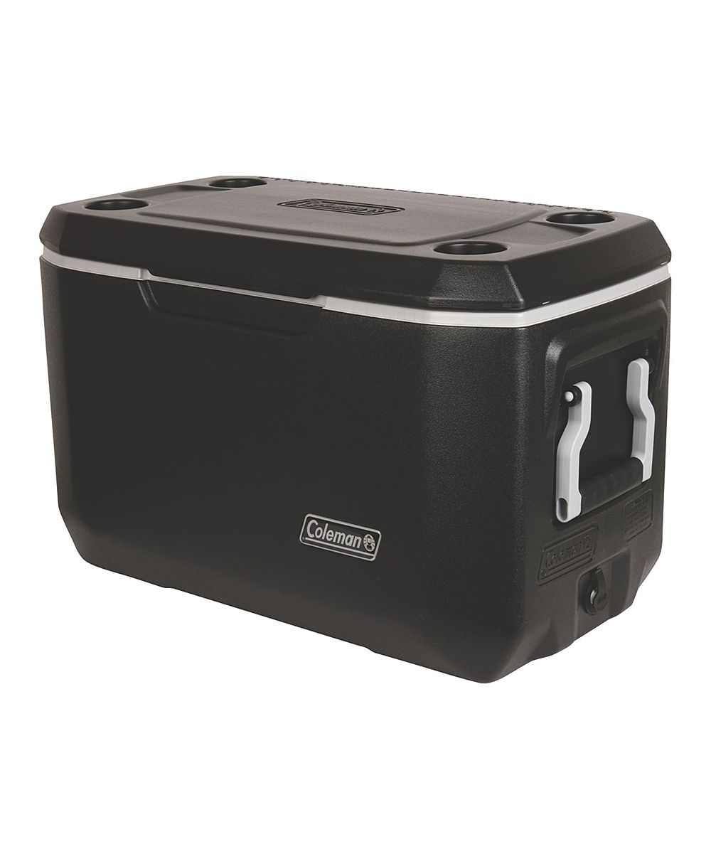 Black 70-Qt. Five-Day Xtreme Cooler. Designed to keep ice frozen and food chilled for up to five days, this luxurious cooler also features pinch-free handles for easy-peasy transport, while a sturdy construction offers an extra seat at the campsite. Weight capacity: 250 lbs.28.25'' W x 18.25'' H x 15.75'' DHolds 70 qt.PlasticCFC-, HFC- and HCFC-free