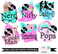 1950u0027s Sock Hop Digital Printable/Table Centerpieces/Sock Hop Signs   DIGITAL FILE By