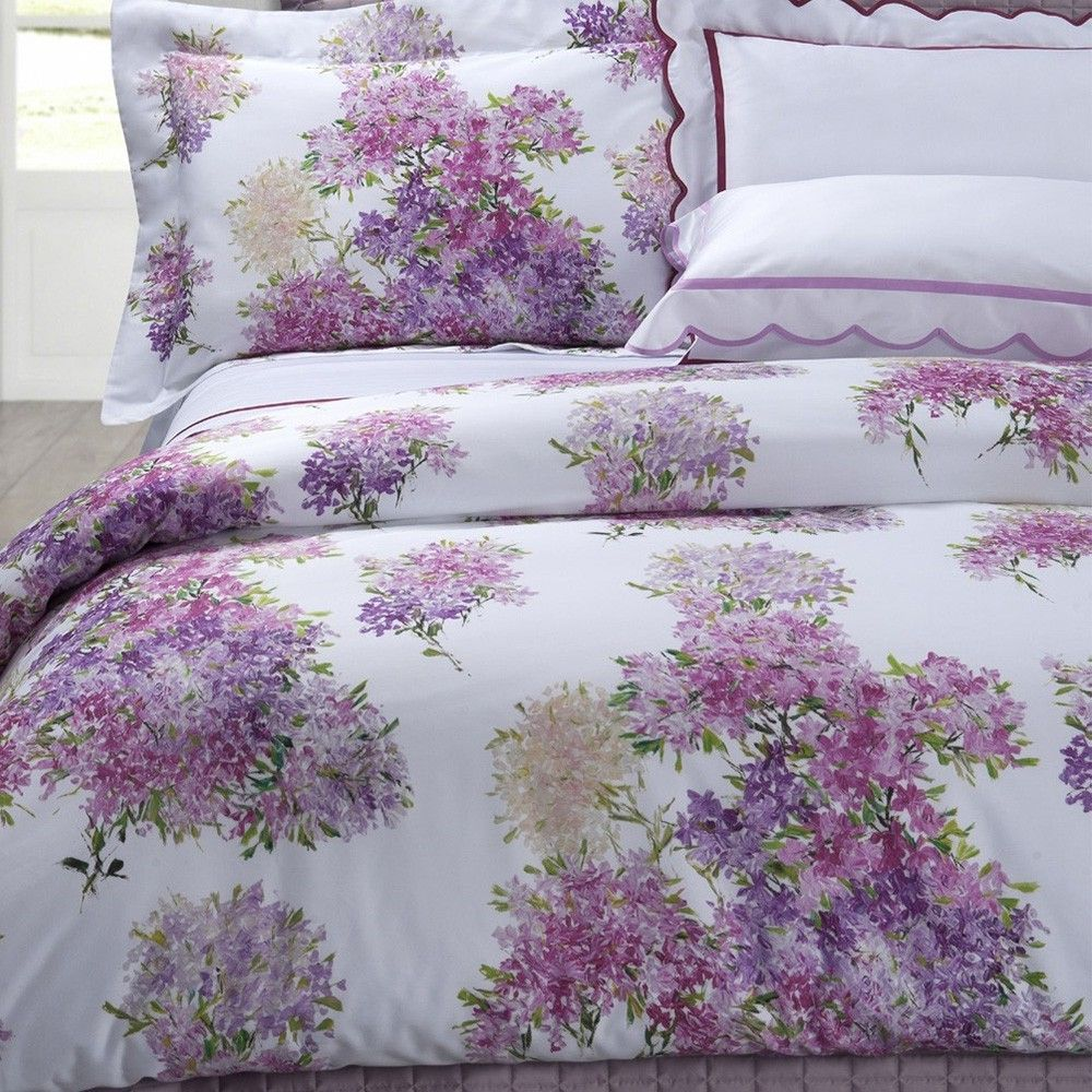Purple Lavender Floral Bedding Digitally Printed Bouquets Of Lilacs On White Ground Italian Fabric Purple Duvet Cover Feminine Bedroom Floral Duvet Cover