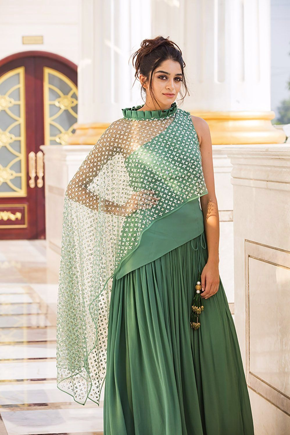 20eba9ac2d034b MARQUESA : Lush Meadow Box Pleat Collar Top and Lehenga. #Yoshita #Lehenga #