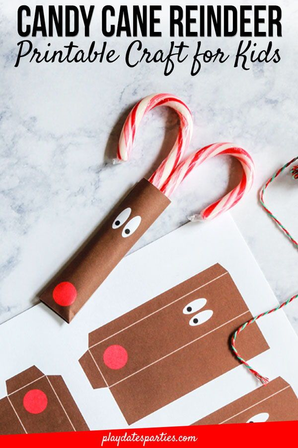 Reindeer Candy Cane Craft for Kids   Easy Preschool Gifts