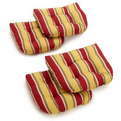 Blazing Needles Reo Striped Outdoor U Shaped Chair Cushion   Set Of 4    93184 4CH REO 13
