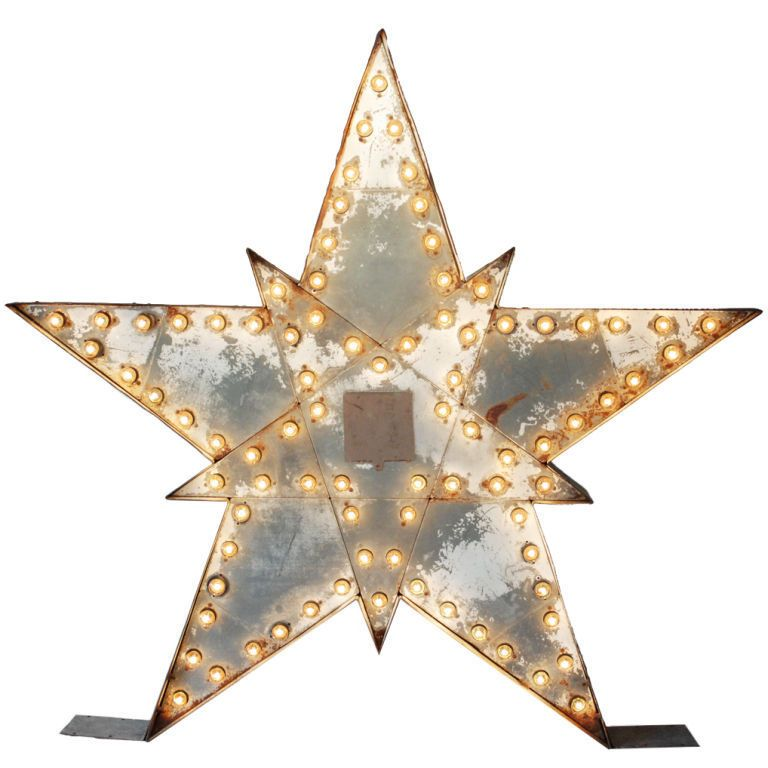 double-sided Massive Lighted Roadside Star Sign   '40s-'50s. 4x5'.