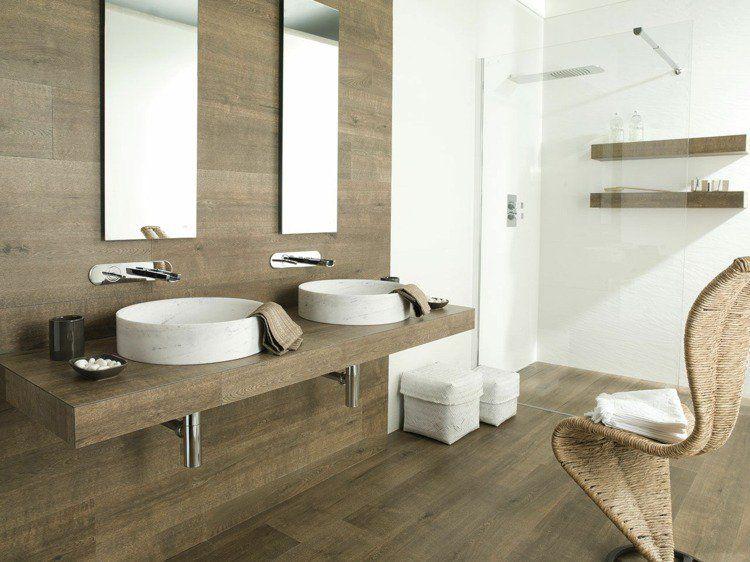 Carrelage salle de bain imitation bois pour un décor chaleureux - salle de bain carrelee