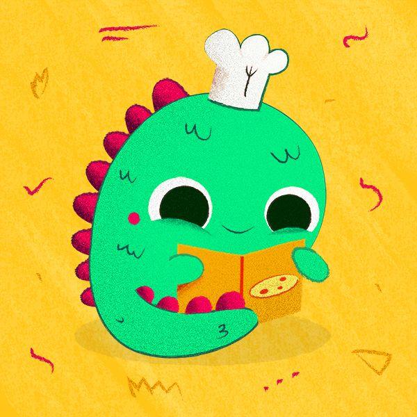 Cuanta caña le dais al pobre dragón con lo tranquilico que está. ¡Feliz día de San Jorge!   Illustration by Fabiola Correas #cute #dragon #chef #pizza