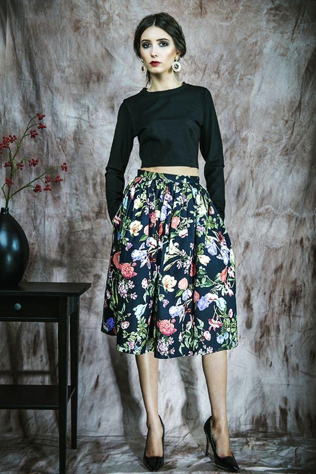 9828b8788f69da Kwiecista spódnica z kieszeniami - kasiamiciak - Spódnice midi ...