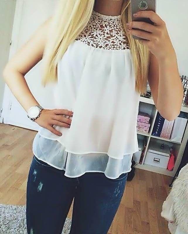 5b36b1d63 Blusa Branca com Renda - Blusas