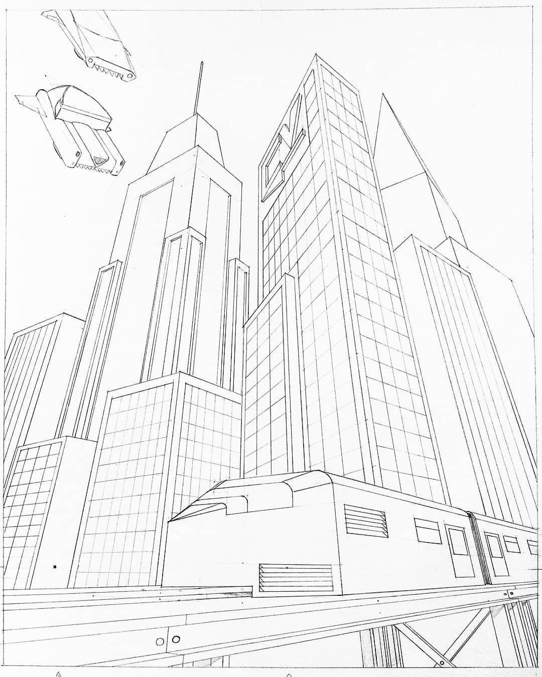 Some Random Futuristic City City Futuristiccity Flyingcar Train Futuristictrain Perspective Threepointperspe Futuristic City City Sketch Futuristic