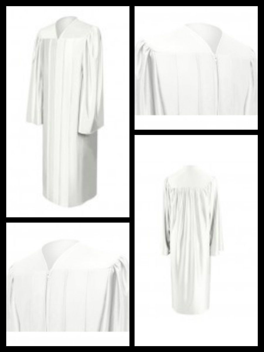 Shiny White Bachelor Graduation Gown. See more:http://bit.ly/1m0lMwj ...