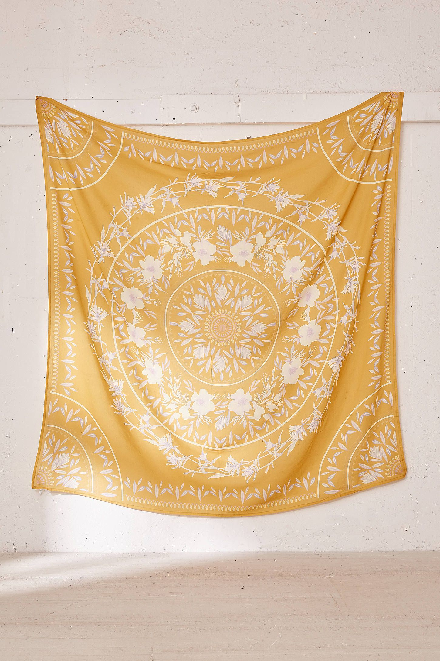 Sketched Floral Medallion Tapestry Yellow Tapestry