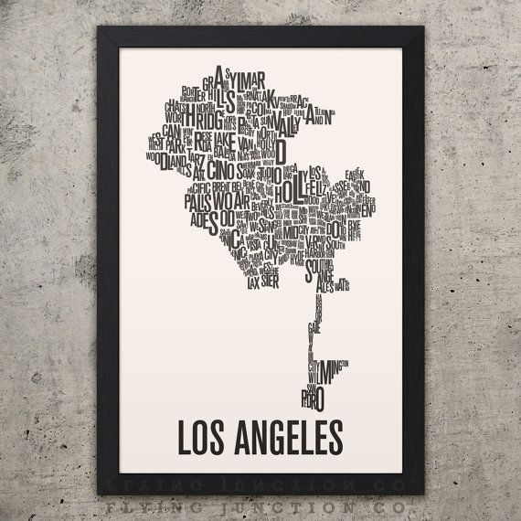 Los Angeles Neighborhood Typography City Map Print Etsy Los Angeles Map Typography Prints Map Print