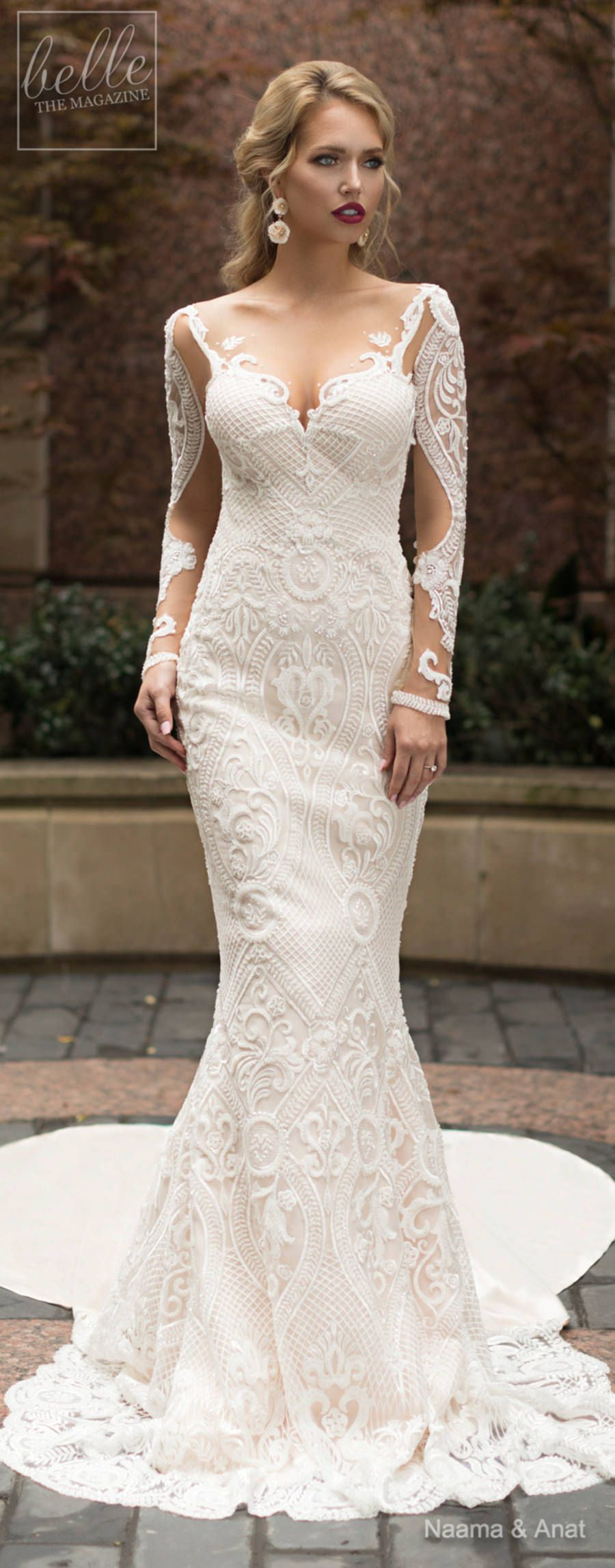 Cowl back lace wedding dress  Naama and Anat Wedding Dress Collection   Dancing Up the Aisle