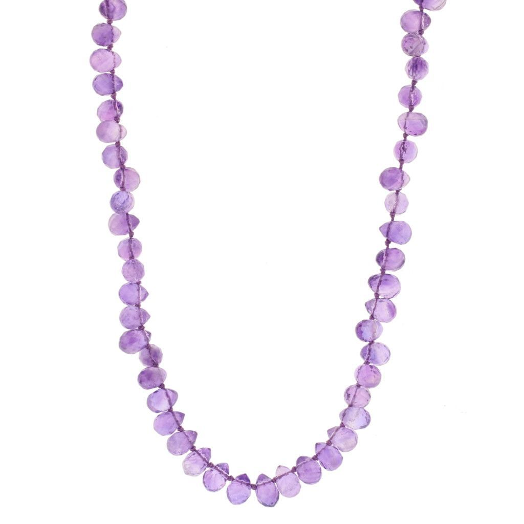 Amethyst Faceted Bead Necklace, GF Clasp