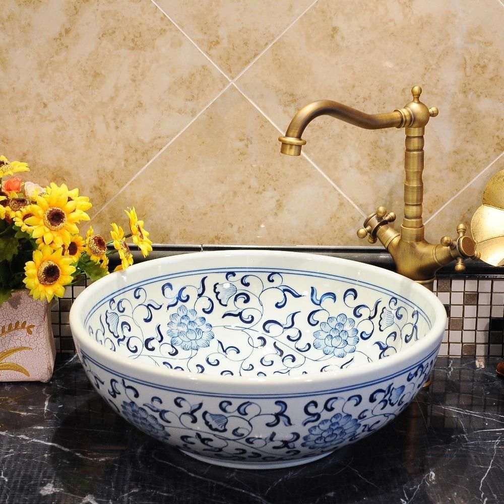 Blue And White Chinese Antique Ceramic Sink Countertop Wash Basin Ceramic Sink Sink Countertop Wash Basin