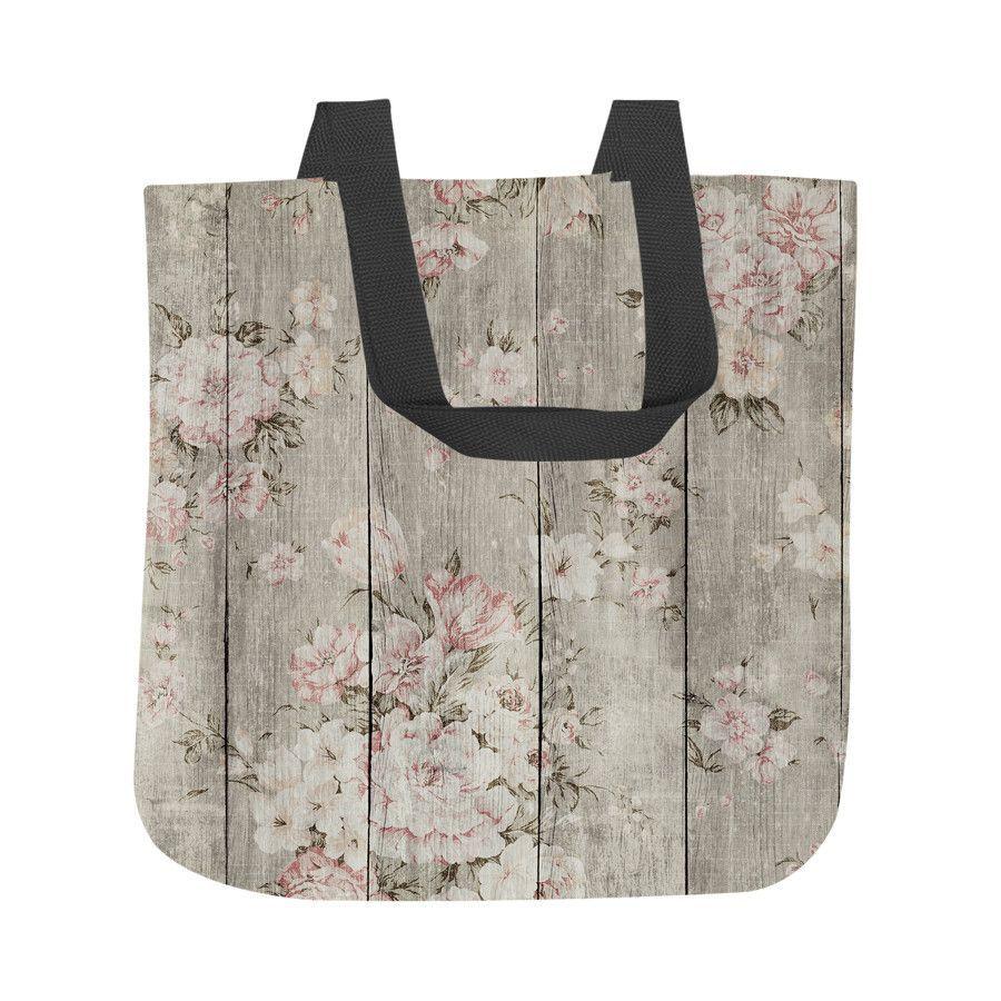 Wood Texture Floral Tote Bag