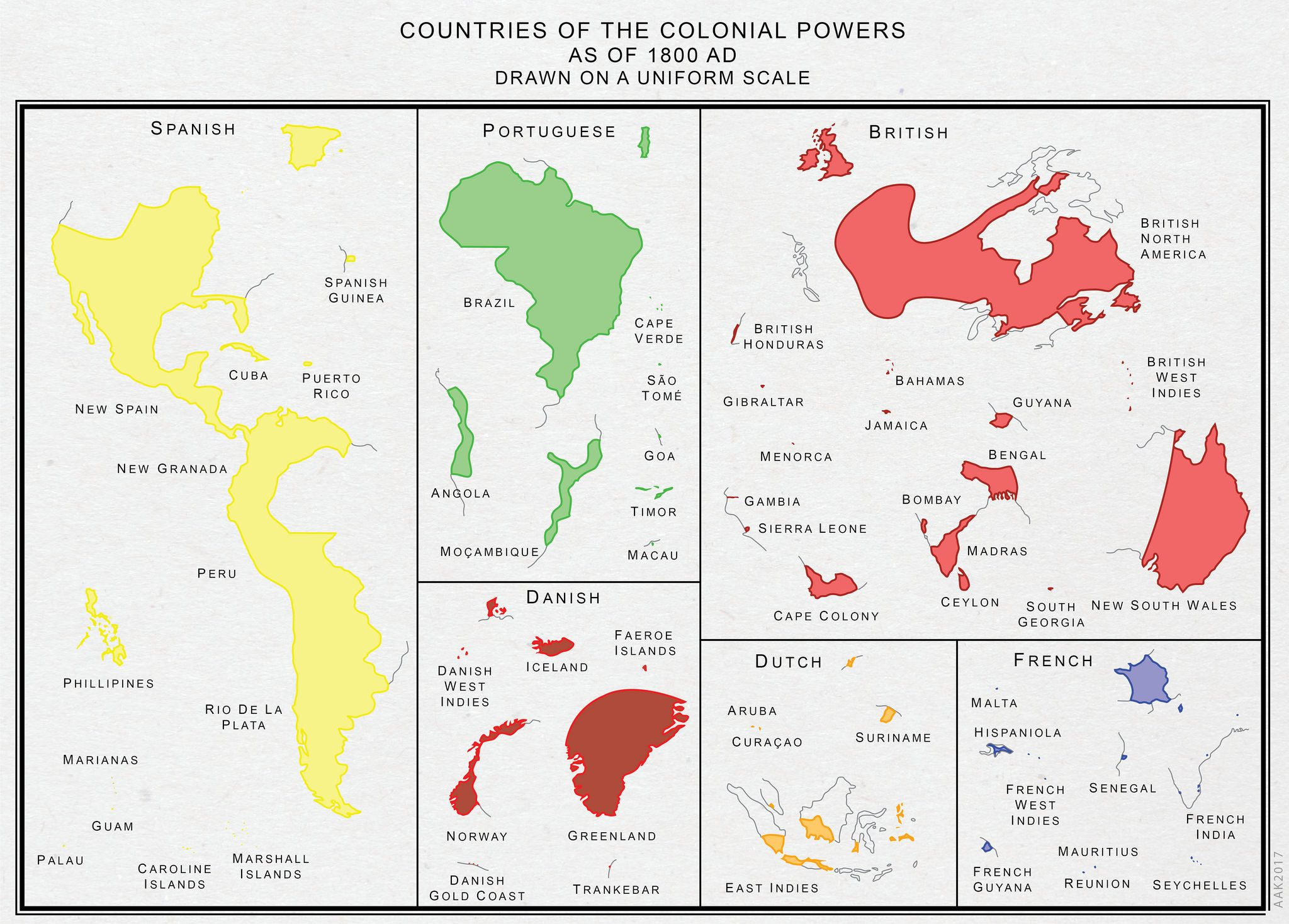 Major colonial empires drawn to scale (1800 AD) | Historical ...