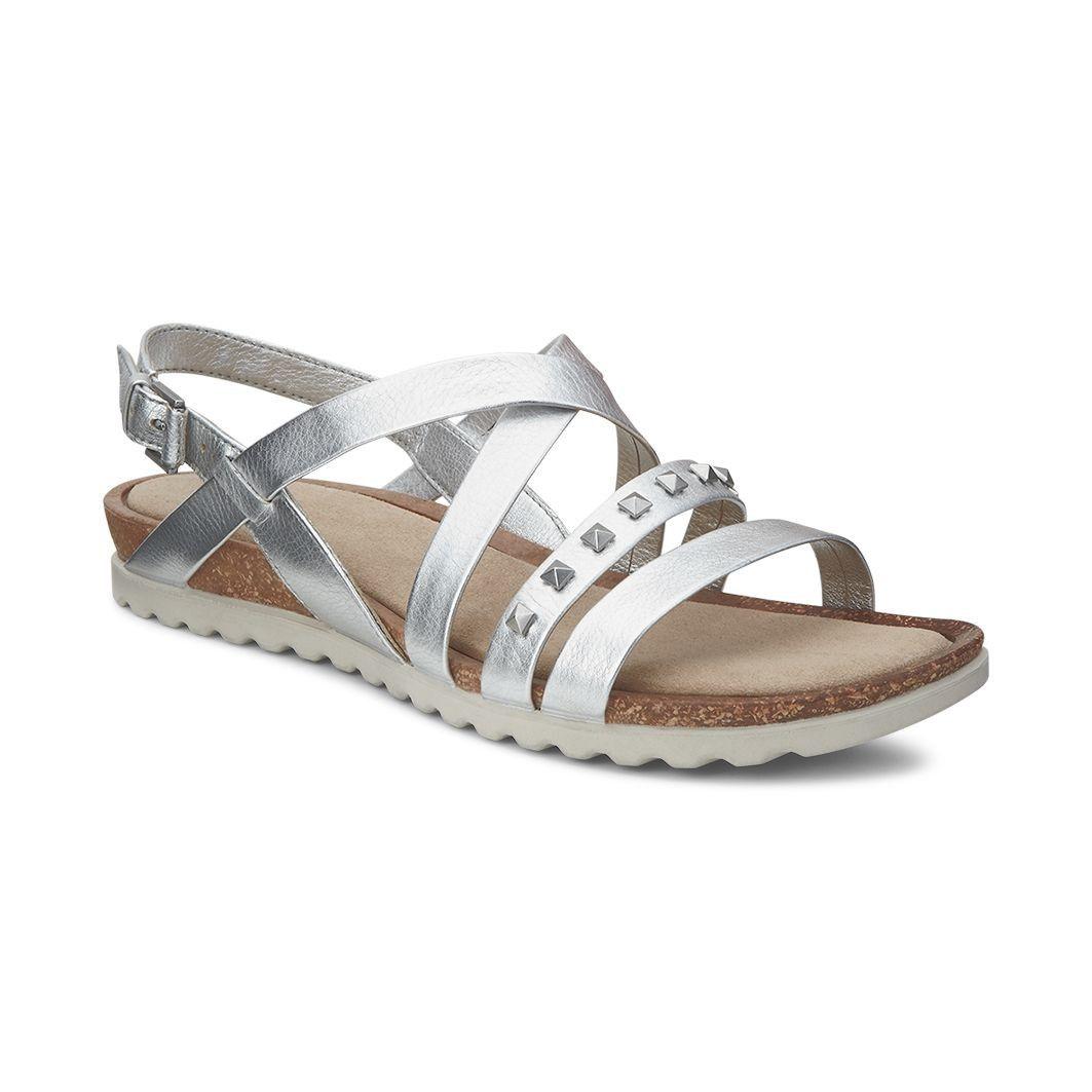 Ecco Women S Dagmar Silver Sandals Metallic Leather Sandals Womens Sandals