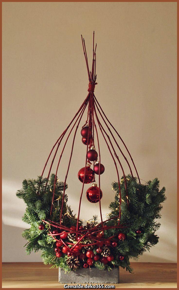 Elegante Weihnachtsgesteck mit Zweigen von Cornus #weihnachtsbastelnnaturmaterialien