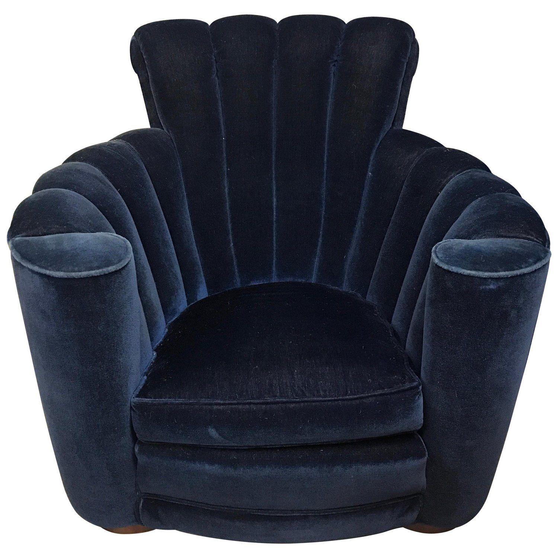 Art Deco Scalloped Upholstered Blue Velvet Large Club Chair