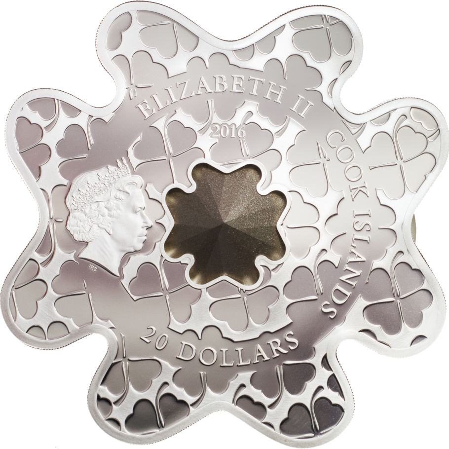2016 Cook Islands 100 gr $20 silver coin - Silver Luxury Line: Lucky Shape (Swarovski crystal).
